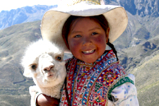 Arequipa Cover Photo. Girl with llama in Arequipa