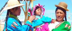 Women in Titicaca Floating island