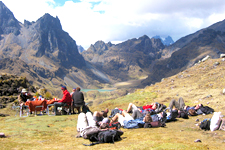 Rest while hiking the Lares trek to Machu Picchu near Cusco,
