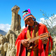 Musician at the Valley of the Moon near La paz Bolivia