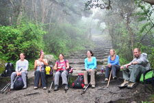 Resting along the Inca Trail to Machu Picchu near Cusco Peru