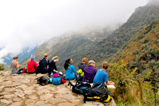 Resting overlooking the Andes during the Inca Trail to Machu