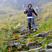 Cover Photo. Descending Inca stairs along trail to Machu Pic