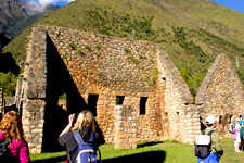 Visiting Chachabamba ruins along the Inca Trail to Machu Pic