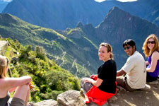 Rest overlooking Andean range during Inca Trail to Machu Pic