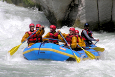 Adventurers rafting the Apurimac Rapids outside of Cusco Per