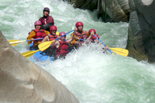 Tackling the Apurimac River rapids at Devils Tooth
