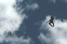 Exhilirating free-fall bungee jump near Cusco Peru