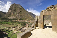 Panorama of Ollantaytambo Fortress in the Sacred Valley, Cus