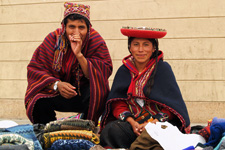 Traditionally dressed vendors in Chinchero in the Sacred Val