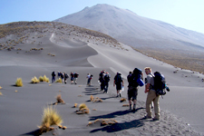 Beginning of the ascent of sandy El Misti Volcano, Arequipa,
