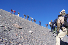 Group of tourists climbing El Misti Volcano in Arequipa, Per
