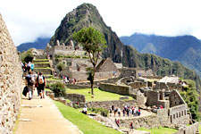 Ruins of Machu Picchu come into view along Inca Trail