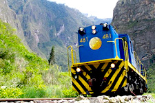 Train to Aguas Calientes, the gateway to Machu Picchu ruins.