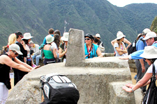 Intihuatana solar clock at the Inca ruins of Machu Picchu in