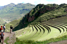 Terraces at the Pisac ruins in the Sacred Valley of the Inca