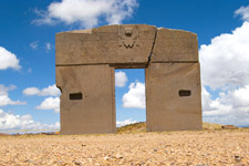 The Sun Gate at Tiawanaku Archeological Complex in Bolivia.