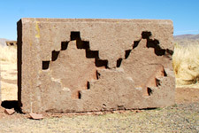 Ruins at Tiawanaku Archeological Complex in Bolivia.