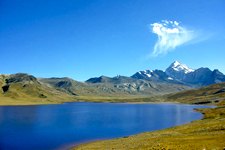Panoramic view of Andean lake and Mt Huayna Potosi in Bolivi