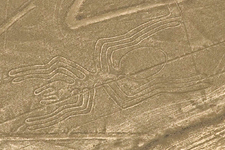 View from flight of the spider figure in the Nazca Lines in