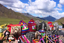 Traditional textiles sold at La Raya along the Cusco to Puno