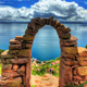 Entry arch to Taquile Island on Lake Titicaca near Puno, Per