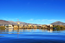 Panoramic view of the Islands of Uros in Lake Titicaca in Pe