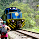 Train to Aguas Calientes, gateway to Machu Picchu ruins in P